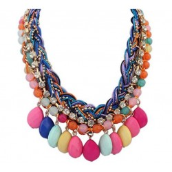 Hand Braided Colorful Beads Necklace Samba