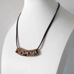 Vintage Tribal Necklace with Brown PU Leather Chain