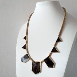 Collar vintage Art Deco, con colgantes geométricos negros