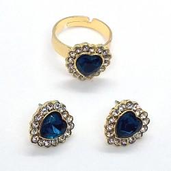 Conjunto de bisutería, anillo y pendientes con corazón cristal azul