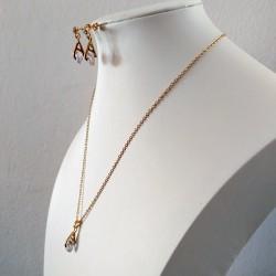 Conjunto de collar y pendientes a juego color dorado con cristales