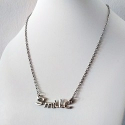 Fashion Jewelry Silver Color SMILE Letter Pendant Necklace