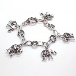 Lucky Elephant Pendants Vintage Silver Bracelet