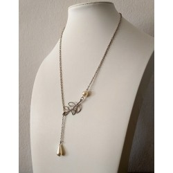 Silver Color Metal Chain Necklace with 2 Pearls