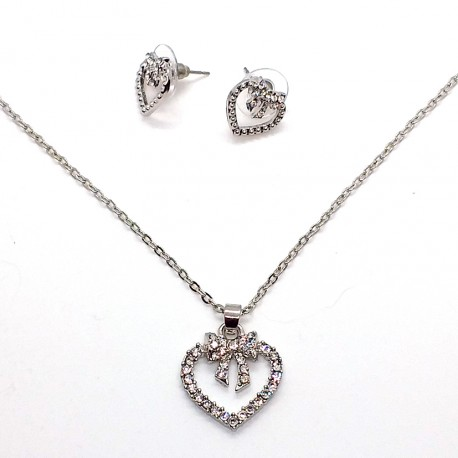 Silver Metal Jewelry Set with Crystals Heart and Tie