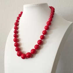 Natural Dyed Red Bamboo Coral Beads Necklace