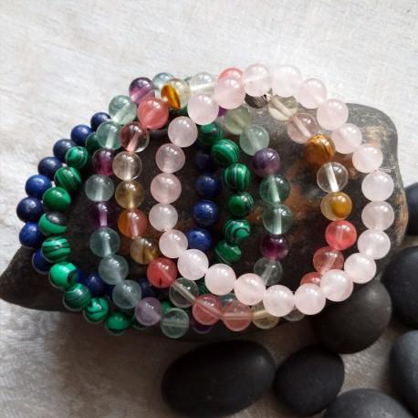 Natural Semi Precious Stone Bracelets, 8mm Beads