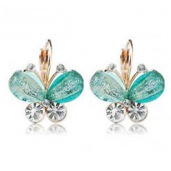 Green Crystals Butterfly Earrings for Women