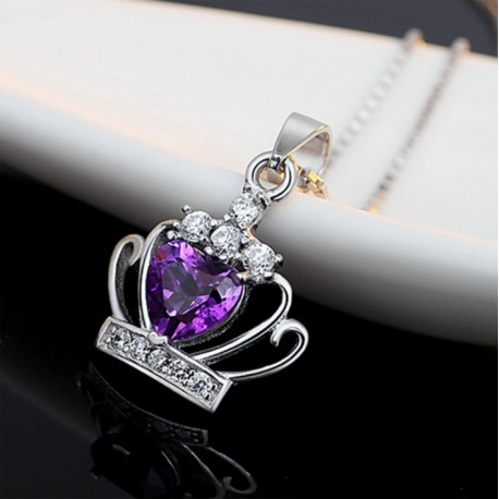 Classic Purple & White Crystal Heart Crown Pendant Silver Necklace