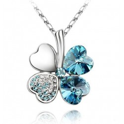 Blue Heart Shape Clover Pendant Silver Color Necklace