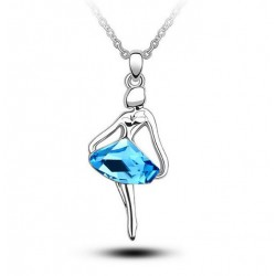 Women Fashion Silver Color Metal Necklace with Ballerina Pendant
