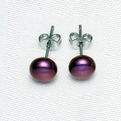 Pendientes con Perla natural color bordeaux