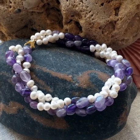 Twisted Freshwater Pearl and Natural Amethyst Bracelet