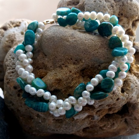 Freshwater Pearl and Green Amazonite Twisted Bracelet