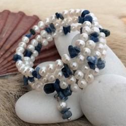 Pulsera de moda en espiral con piedras sodalita y perlas