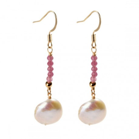 White Baroque Coin Pearl and Natural Tourmaline Stone Earrings