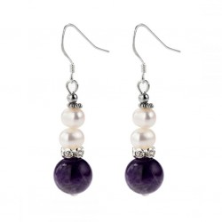 Natural Amethyst and White Pearl Silver Earrings