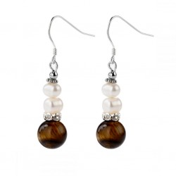 Natural Tiger Eye and Freshwater Pearl Drop Dangle Earrings