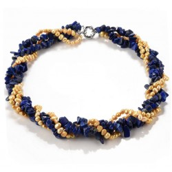 Natural Sodalite Stone and Freshwater Pearl Twisted Necklace