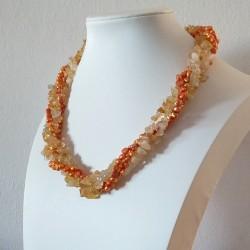 Collar trenzado con piedras naturales Citrina y perlas de agua dulce
