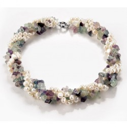 Natural Fluorite and Freshwater Pearl Twisted Multi Strand Necklace