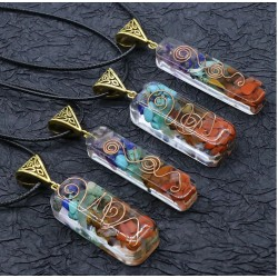 7 Chakra Chips Stone Reiki Pendant with Natural Stones