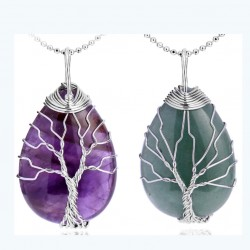 Natural Stone Pendant with Silver Metal Wire Wrap Tree of Life