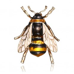 Gold Color Metal Cute Bee Brooch Pin