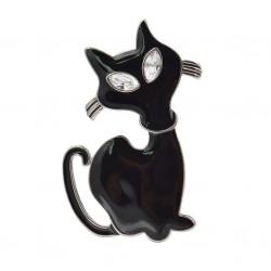 Black Enamel Cat Brooche