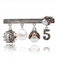 Original Brooch with Ladybug, Pearl and Number 5 Pendants