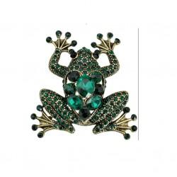 Broche en forma de rana con cristales verdes