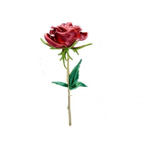 Enamel Red Rose Flower Brooch