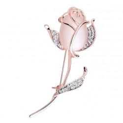 Opal Rose Flower Brooch