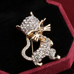 Fashion Jewelry Gold Color Cat Brooch