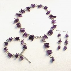 Amethyst Jewelry Set ( Necklace, Earrings and Bracelet)