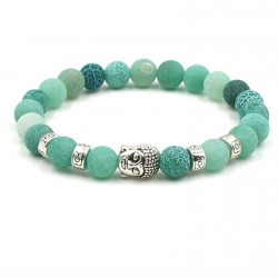 Weathered Agate Beads Bracelet with Buddha Head