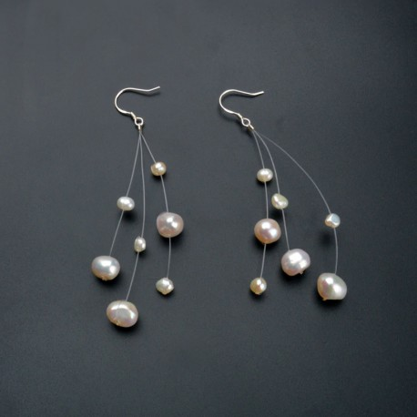 Natural Floating White Pearls Earrings