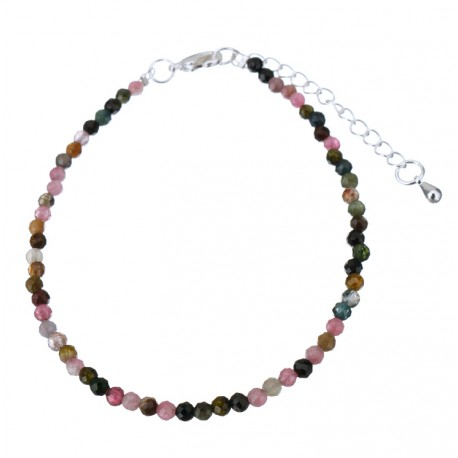Natural Faceted Multicolor Rainbow Tourmaline Beads Bracelet