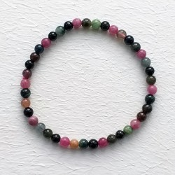Natural Multicolor Tourmaline Beads Elastic Bracelet