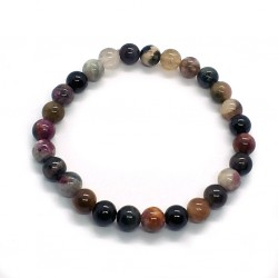 Natural Stone Bracelet with Multi Color Rainbow Tourmaline Beads