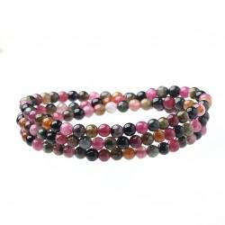 Triple Bracelet with 4mm Natural Multi Color Rainbow Tourmaline Beads