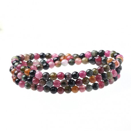 Triple Bracelet with 4mm Natural Multi Color Rainbow Tourmaline Beads