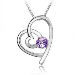 Fashion Silver Necklace with Dali Crystal Heart Pendant