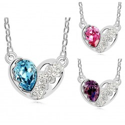Fashion Jewelry Silver Plated Necklace with Crystal Heart