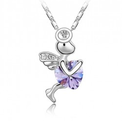 White Gold Plated Necklace with Angel and Crystal Heart Pendant