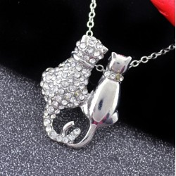Silver Necklace with Cute Cats Couple Pendant