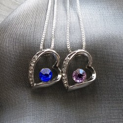 18K Plated Necklace with Crystal Heart Pendant