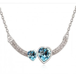 Lovely Silver Necklace with Two Hearts with Austrian Crystals