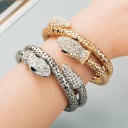 Pulsera brazalete con forma de serpiente plateado o dorado
