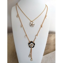 Long Gold Color Metal Necklace With Two Flowers with Seashell